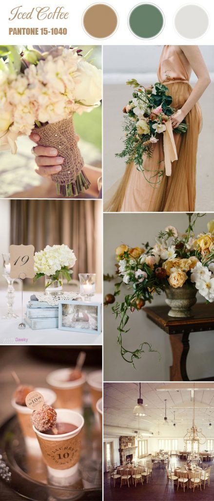 iced-coffee-brown-and-green-wedding-color-ideas-for-spring-summer-2016